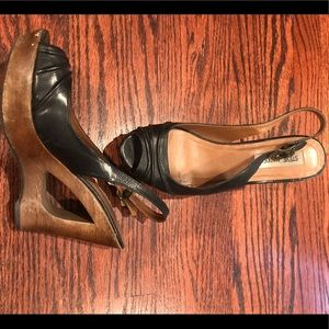 Steve Madden leather & wood wedges